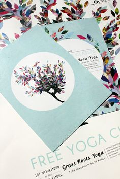 Yoga Promotion by Emma Hunt, via Behance Poster Design Inspiration, Creative Inspiration, Brochure Design, Flyer Design, Yoga Flyer, Ayurveda, Collage Artwork, Creative Flyers, Layout
