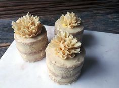 Personal size raw vegan gluten-free cake, vanilla with simple flower, by Sweet Little Sirin.