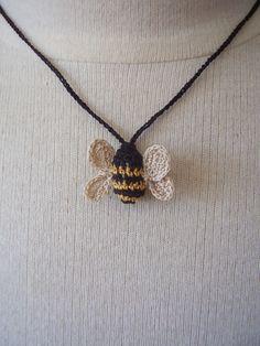 Thursday Handmade Love Week 72 - Crochet Addict UK. Theme: necklaces Crocheted Bee Necklace