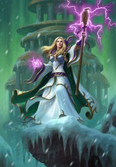 f Cleric Med Armor Robes Staff Casting Traveler mountain monastery winter ice evening Illustration de James Ryman Fantasy Art Women, Dark Fantasy Art, Fantasy Girl, Fantasy Artwork, Art Warcraft, World Of Warcraft 3, Wow Mage, Blizzard Warcraft, Illustration Fantasy