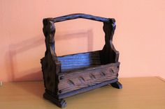 Vintage Carved Dark Wood Carrier, Wooden Beer Caddy, Carpenters Tool Box, Mail Newspaper Holder, Rustic Primitive Farmhouse Rack by Grandchildattic on Etsy