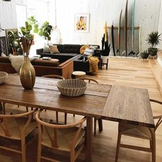 Madera Oak Dining Table, Extendable – New Avsa Restaurant Dining Room Design, Dining Room Decor, Oak Dining Table, Decor, Scandinavian Dining Table, Interior, Boho Living Room, Home Decor, Extendable Dining Table