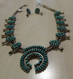 Sterling Silver and Turquoise Squash Blossom by ShadowTrading