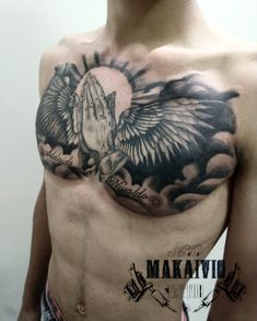 Chest Tattoo Simple, Lion Chest Tattoo, Eagle Chest Tattoo, Cool Chest Tattoos, Chest Piece Tattoos, Badass Tattoos, Tattoo Quotes For Men, Hand Tattoos For Guys, Religious Tattoo Sleeves