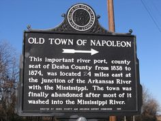 "Napolean, Arkansas: Don blogs, ""My travels took me to the small town of Watson and like many small towns, is a pale remnant of what it once was. It's primary claim to fame is it was the Desha County seat...when the previous county seat at the nearby town of Napoleon was literally washed away by the Arkansas River in the late 1800s. All that remains of Napoleon is this old sign. It points to a goat path that ends in...you guessed it... the Arkansas River.""  (Photo by Don Taylor via…"
