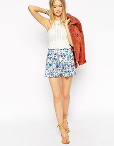 ASOS+Paperbag+Waist+Shorts+In+Pretty+Floral+Print+With+Tassle+Tie