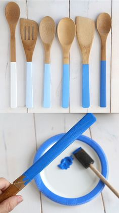 Paint wooden spoon handles in different shades to make an ombré set. - Paint wooden spoon handles in different shades to make an ombré set.