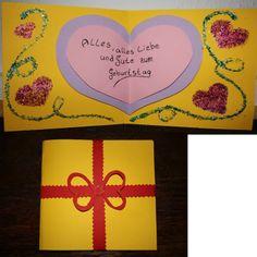 Geburtstagskarte. Die Herzen in 3D, Karte ist mit Glitzer versehen. Wenn sie zugeklappt ist wird sie mit einem Papierband zusammen gehalten