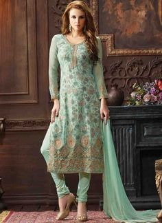 Turquoise Embroidery Booti Work Georgette Printed  Designer Churidar Suit http://www.angelnx.com/Salwar-Kameez