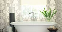 Make your bathroom stylish with wallpaper! Decor, Retreat, Homeowner, Room, Home, Bathroom Wallpaper, Wallpaper, Bathroom