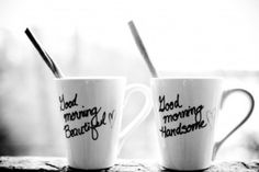 """""""Using a porcelain paint pen, write a cute message to your hubby on a white mug and fire it up in the oven."""""""