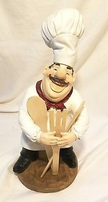 Fat French Italian Chef Holding 3 Wooden Spoons Bistro Kitchen Statue Home  Decor
