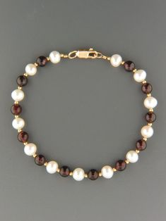 Garnet Bracelet with Pearls & Gold beads