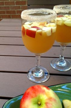 Delicious cider sangria! Apple cider, whiskey, white wine, ginger ale... What more do you need!