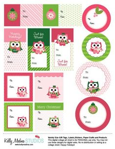 Property of Kelly: Christmas Owls Gift Tags - Freebie!