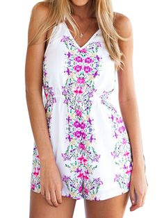 White Floral Print Sleeveless Halter Rompers Playsuit