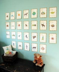 Adorable way to display the alphabet in a child's room.  I love the colors and the borders around each image.  So cute!