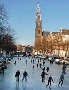 Frozen canals in Amsterdam!