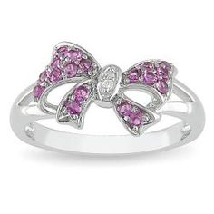 @Overstock - Created pink sapphire and diamond bow ringSterling silver jewelryClick here for ring sizing guidehttp://www.overstock.com/Jewelry-Watches/Miadora-Sterling-Silver-Created-Pink-Sapphire-and-Diamond-Fashion-Bow-Ring/5337247/product.html?CID=214117 $34.49