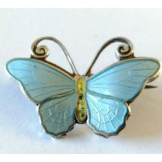 Hestenes Norway Silver and Blue Enamel butterfly brooch