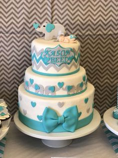 What a pretty cake for this gorgeous Elephant Baby Shower!! Love it!! See more party ideas and share yours at CatchMyParty.com