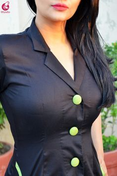 Black & Green Cotton Silk Kurti with Green Stripes Cotton Silk Pants Kurti Neck Designs, Dress Neck Designs, Salwar Designs, Sleeves Designs For Dresses, Fancy Blouse Designs, Ladies Cardigan Knitting Patterns, Girls Kurti, Tight Blue Dress, Kurti Embroidery Design