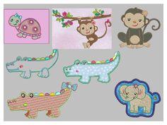 Stickmuster Stickdatei Tiere 7 Dateien verschieden von lollikids auf DaWanda.com