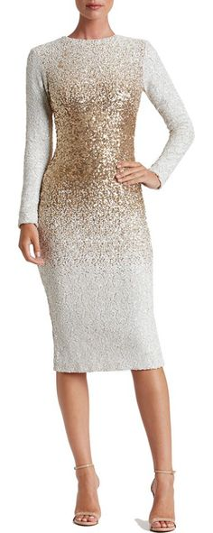 sequin midi dress by Dress the Population. Snow-white sequins diffused with metallic shine create ombre dimension on this glistening body-con dress