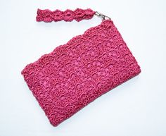 Fuchsia Pink Rectangular Crochet Clutch Bag