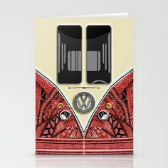 Aztec red minibus minivan vw volkswagen kombi Stationery Card @Society #stationerycard #aztec #car #logo #kombi #jeep #bmw