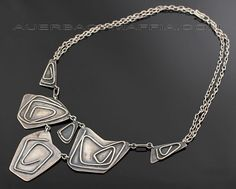 Necklace |  Romona Saolberg, ca 1950.  Modernist silver necklace