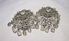 Vintage Filigree Scrollwork Rhinestone Drop Dangle Silver Clip Earrings #DropDangle