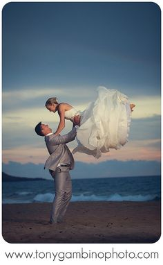 This says it all! Perfect beach wedding picture.  #mauiwedding #tonygambino