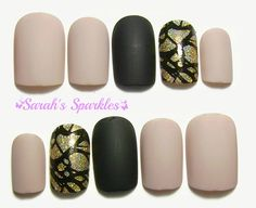 Short Square - Matte Nude, Black, & Gold Holographic Glitter Accents - 10 or 24