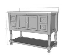 "48"" Turned Leg Vanity plans.  Increase to 60 to make it a double vanity for the kids bath"