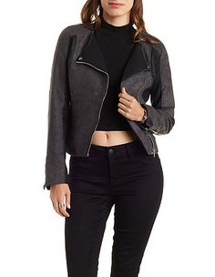 Faux Suede & Faux Leather Moto Jacket: Charlotte Russe