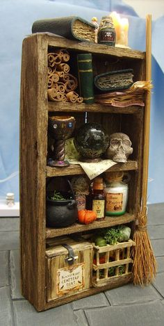 A set of Witch or Wizard shelves fully stocked with all manner of Spooky Items Halloween Miniatures, Halloween Doll, Halloween House, Halloween Crafts, Halloween Decorations, Haunted Dollhouse, Haunted Dolls, Dollhouse Miniatures, Miniature Furniture