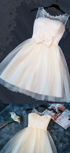 Short Homecoming Dress, Tulle Prom Gowns, Round Neck