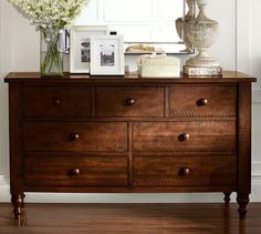 Ideas For Bedroom Design Black Furniture Pottery Barn Dark Wood Dresser, Dark Wood Desk, Dark Wood Bedroom, Dark Wood Furniture, Wood Bedroom Furniture, Bedroom Dressers, Furniture Decor, Refinished Furniture, Bedroom Black