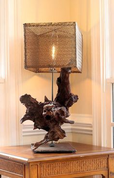 One of a Kind, Driftwood / Burl incorporated into a Lamp. Vintage style with steel shade and industrial base. Vintage style bulb, x x Vintage Style, Vintage Fashion, Driftwood, Table Lamp, Bulb, Industrial, Shades, Steel, Lighting
