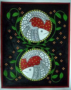 Watercolour Paintings, Fabric Painting, Painting & Drawing, Fish Artwork, Madhubani Art, Art Diary, Indian Folk Art, Madhubani Painting, Indian Art Paintings
