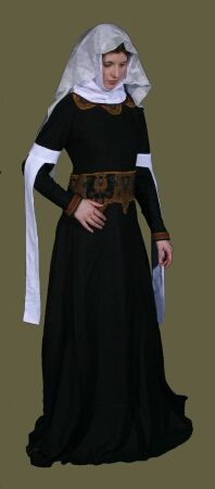 During the High Middle Ages (11th - 13th centuries) male and female fashions often emphasized a full-sleeved tunic or gown over a tight-sleeved undertunic or gown, both of which were worn over a plain linen shirt or chemise. Towards the close of this period the sleeves of the overgarment were cut to end at the elbow and form long, pendant sleeves about a foot long, leaving the forearms covered exclusively by the undergarment