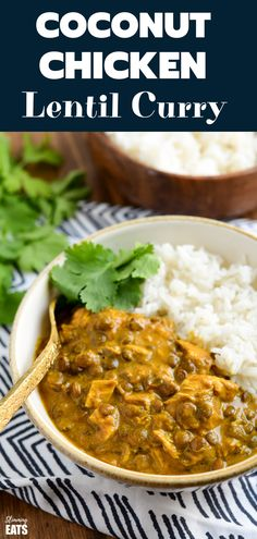 Coconut Chicken and Lentil Curry - rich and creamy easy Coconut Chicken and Lentil Curry using leftover cooked chicken to make this ready and on the table in 40 minutes. Chicken Lentil Curry, Coconut Lentil Curry, Leftover Chicken Curry, Lentil Dishes, Curry Dishes, Lentil Recipes, Curry Recipes, Soup Recipes, Dinner Recipes