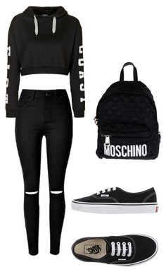 """""""School"""" by jgalicea on Polyvore featuring Topshop, Vans and Moschino"""