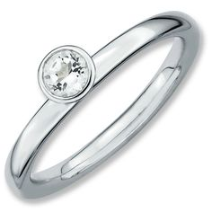Sterling Silver Stackable Expressions High 4mm Round White Topaz Ring