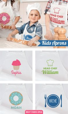 Our brand new personalised kids Apron designs will make the most perfect unique gift for your little one! Personalise them with your child's name and favourite colour. Find them all here: http://www.brightstarkids.com.au/personalised-clothes/personalised-kids-aprons