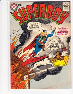 1950's DC Comics #56 Superboy Silver Age comic book,1st Series,10 cent comic,Krypto cover by pasttimejewelry on Etsy
