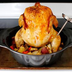 Hey Ladies,   Here's a great tip for roasting a whole chicken evenly. just add your favorite veggies with it and you have a great meal.