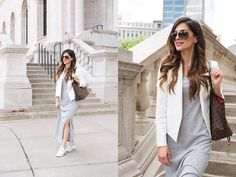 Topshop White Blazer, Ann Taylor T Shirt Dress, Converse Chuck Taylors, Louis Vuitton Tote