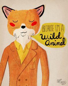 Because I'm A Wild Animal  Illustration Print by NanLawson on Etsy